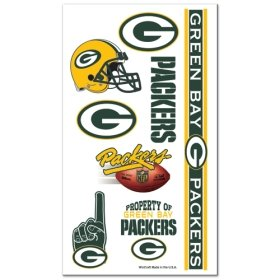 Green Bay Packers NFL Temporary Tattoos (10 Tattoos) (Green Bay Packers Tattoo)