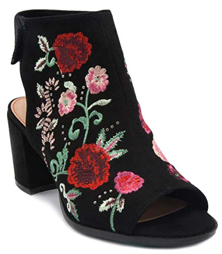 (Sugar Women's Raine Slingback Peep Toe Ankle Boot Bootie with Flower EmbroideryBlack 6)