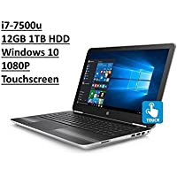 HP 15.6 Pavilion 15T TouchSmart Laptop: Intel Core i7-7500U | 1TB HDD | 12GB DDR4 | FHD (1920x1080) TouchScreen | DVD-RW | Backlit Keyboard | Silver | Windows 10 (Certified Refurbished)