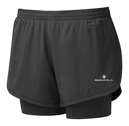 eafeaac9aa6a4 Ron Hill Women's Stride Twin Shorts, Black/Charcoal Marl, 10
