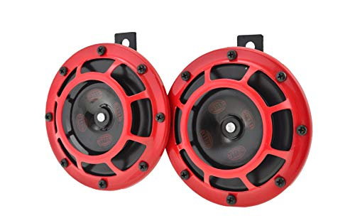 HELLA 003399801 Supertone 12V High Tone / Low Tone Twin Horn Kit with Red Protective Grill, 2 Horns (3AG 003 ()