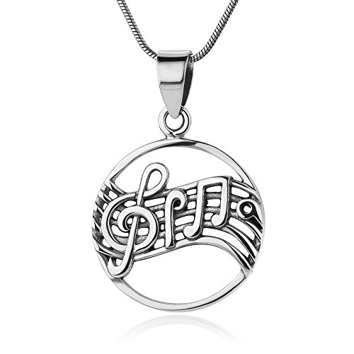 925 Sterling Silver Dancing Melody Treble Clef Music Notes Round Vintage Pendant Necklace 18