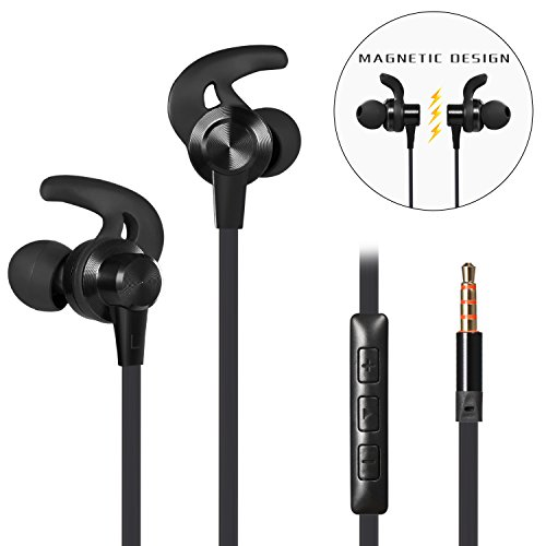 In-Ear Earbuds, Magnetic Wired Earphones with Mic and Volume Control, Anlyso Metal Stereo Bass Noise Cancelling Headphones Sports Sweatproof Headsets for Gym Running Workout Android Samsung (Black) by Anlyso