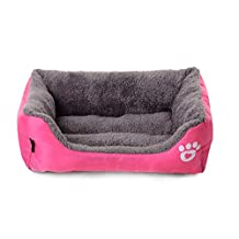 Spring fever Ultra-Soft Paw Print Pet Water Resistant Rectangle Orthopedic Snuggle Dog Cat Warm Pet Bed Pink S (17.7*15.7*4.7 inch)
