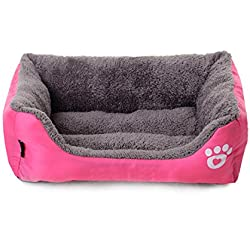 Spring fever Popular Pet Bed Deep Sleep Cozy Solid Printed Dog Cats Warm Beds Pink S (17.715.74.7 inch)