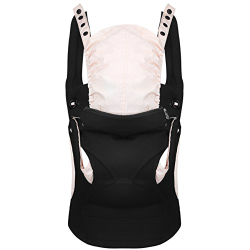 Baby Carrier Backpack front and back 360° Ergonomic , Soft Structured Sling Comfortable Breathable &100%Cotton , All season& Carries children from 7.5-44lbs (3.5 - 20kgs) (Pure black) from BAOBAO