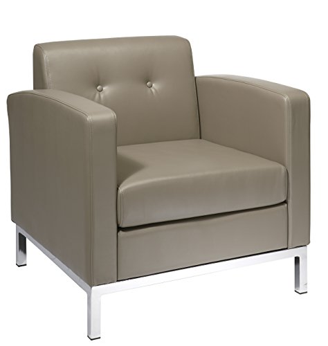 AVE SIX Wall Street Faux Leather Arm Chair with Chrome Accents, Smoke - Faux Leather Wall Street