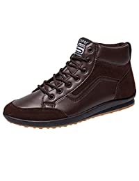 Mens Shoes Casual Leather Boots - Fashion Boots Footwear Men High Top Flat Sports Shoes Lace Up