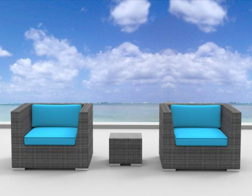 Urban Furnishing - St. Croix Ultra Modern Outdoor Backyard Wicker Patio Furniture Sofa Chair 3pc All-Weather Couch Set - sea blue