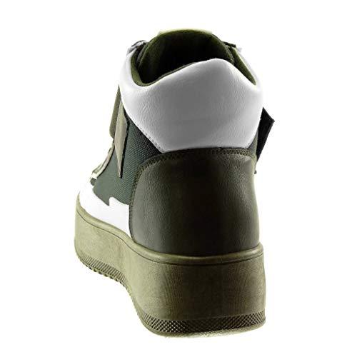 Verde materiale 5 Tacco Bi Zeppe Cm Angkorly 4 Bicolore Zeppa Scarpe Moda Piattaforma Kaki Sneaker Sporty Donna Chic Strappo RwfwqTXA