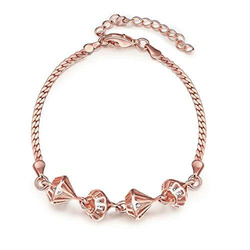 Cufflinks Gold Weave Plated - Epinki Rose Gold Plated Bracelet, Women's Charm Bracelets Geometric Length 20+5CM
