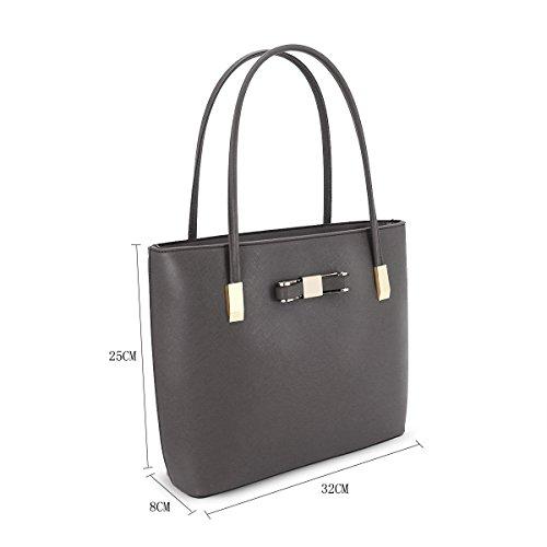 Fashion Womens Tote Leather Dark Bag Detail Top Bow Shoulder Handle Grey J48 Ladies Faux Messenger UqwarU8