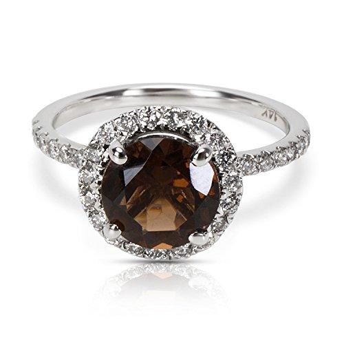Diamond Halo Smokey Topaz Ring in 14KT White Gold 2.19 ctw ()