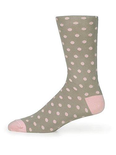Paul Fredrick Men's Peruvian Pima Cotton Dot Socks Grey/pink Mid Calf
