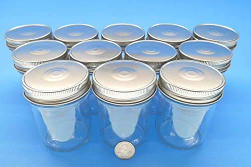 (Set of 12) 8 Oz Clear Mason Jars with Rounded and Smooth Sides (and Not Tapered) - Easy to Label with Safety Button Lids, Regular Mouth (Silver)