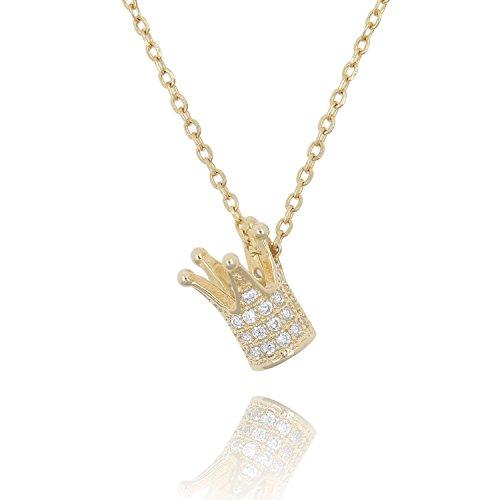 Lancharmed 925 Sterling Silver Tiara Queen Crown Pendant Elegant Necklace Cubic Zirconia Jewelry for Women Girls Teens