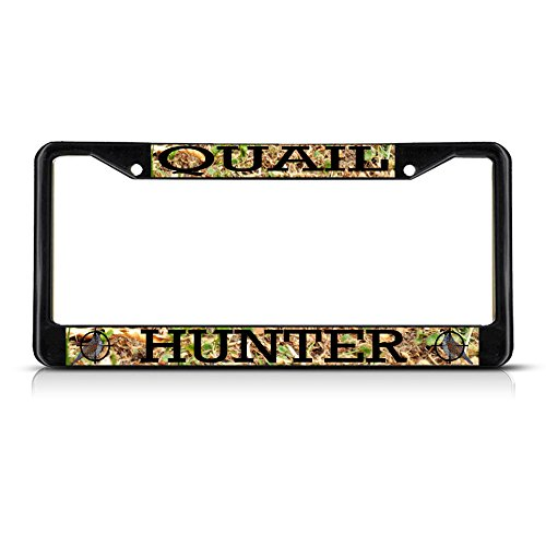 Fastasticdeals Quail Animal Hunting Metal License Plate Frame Tag Border Two Holes Black