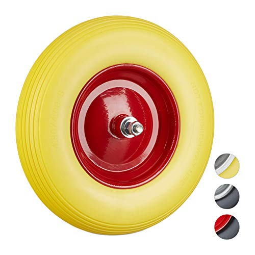 Relaxdays Solid Rubber Wheelbarrow Tyre with Axle, 4.80 4.00-8 Spare Tire, 100 kg Capacity, Flat-Free, Yellow-Red