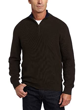 IZOD Men's Tipped Shaker Sweater, Woodfire, Small