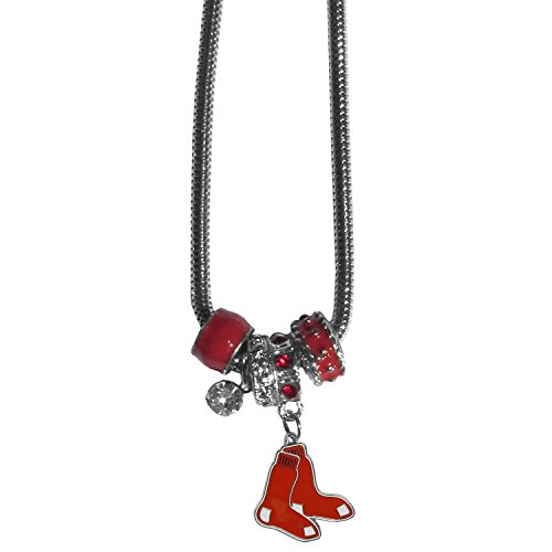 Siskiyou MLB Boston Red Sox Women's Euro Bead Necklace, Red Red Sox Cubs