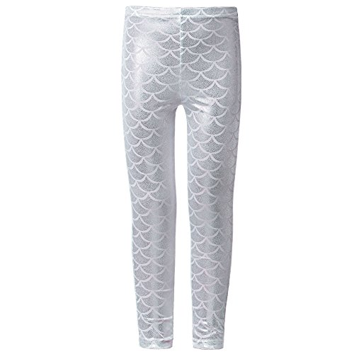TFJH E Kids Baby Girls Mermaid Fish Scale Stretchy Leggings Pants Silve - Neon Colored Outfits
