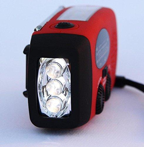 (Weather Radio LED Flashlight Dynamo Solar Hand Crank Self Powered AM/FM NOAA Emergency Smartphone Charger Power Bank, red)