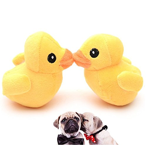Stock Show 2Pcs Pet Dog Squeak Toys Plush Small Yellow Duck