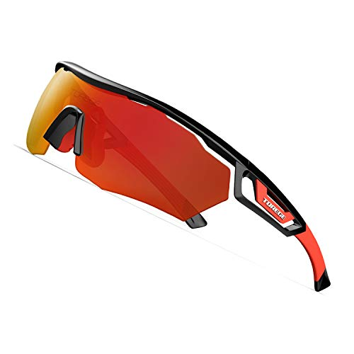 TOREGE Polarized Sports Sunglasses with 3 Interchangeable Lenes for Men Women Cycling Running Driving Fishing Golf Baseball Glasses TR05 (Black&Red&Red - Interchangeable Sunglasses Sports