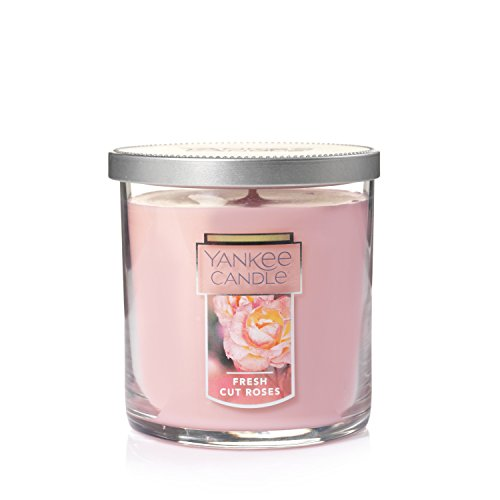 Yankee Candle Small Tumbler Jar Candle|Fresh Cut Roses Scented Candle|Premium Paraffin Grade Candle Wax with up to 55 Hour Burn Time (Candle Rose Heart Pink)