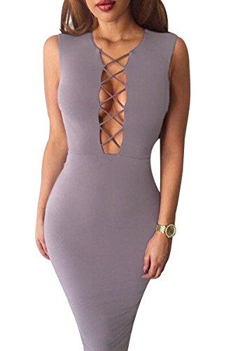 Yming Manches Longues Femmes Coupe-bande Moulante Clubwear Midi De Gris Robe Moulante 06