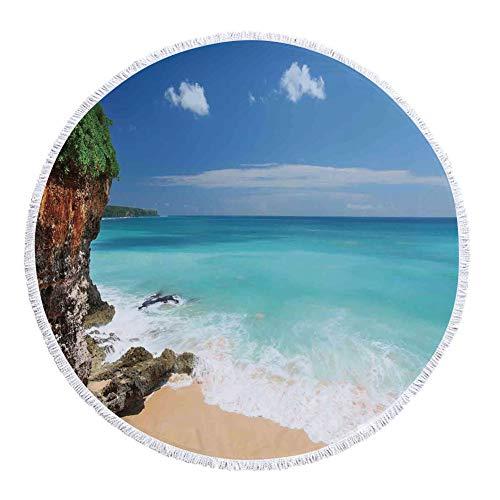 iPrint Thick Round Beach Towel Blanket,Seaside Decor,Tropical Beach Seaside Cliff Under Clear Sky Coastline of Bali Island Indonesia,Multi-Purpose Beach Throw by iPrint