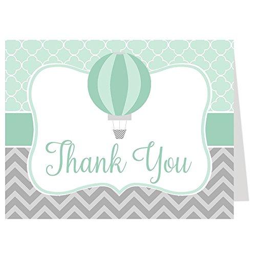 Baby Shower Thank You Cards, Hot Air Balloon, Mint, Green, Neutral, Gray Grey, Chevron Stripes Hot Air Balloon, Modern, Birthday, Sprinkle, Set of 50 Folding Notes with Envelopes, Hot Air Balloon Mint Green Stripe Note