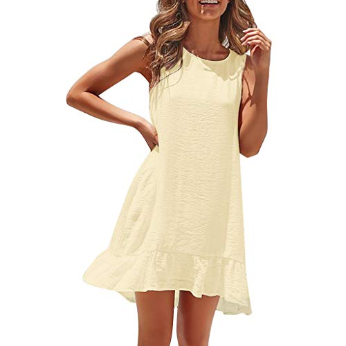 HYIRI Sexy Belt Slim Dress,Women's Solid Color Casual Pleated Loose Summer Dress Yellow -