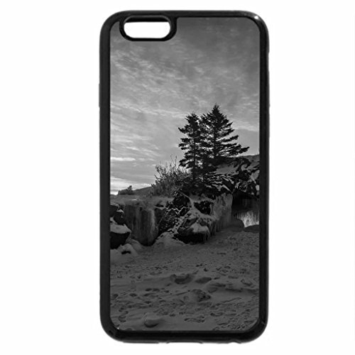 iPhone 6S Plus Case, iPhone 6 Plus Case (Black & White) - magnificent rocky lakeshore in winter