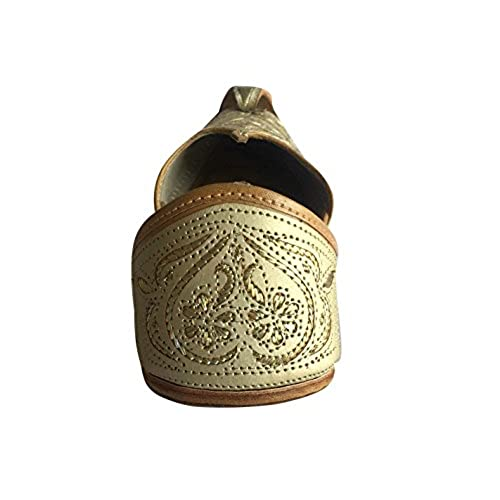 3880d15ce688 Step n Style Mens Punjabi Jutti Sherwani Shoes Cream Cut Work Zari ...