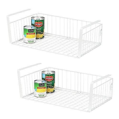 NEX Under Shelf Basket, 2-Pack Under Cabinet Hanging Storage Wire Basket Organizer (14.17 x 10.50 x5.90) for Kitchen Pantry Cupboard, White(LT-DB066B)
