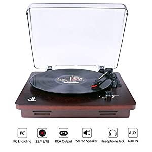 Record Player of dl Vintage Turntable Walnut Wood 3 Speed 33, 45 and 78 Vinyl Record Player, PC Encoding Vinyl to MP3 WAV with Transparent Dust-proof Cover, RCA Output to External Speaker, Aux In