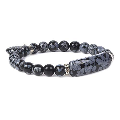 Natural Snowflake Obsidian Gem Semi Precious Gemstone Love Heart Charm Stretch Bracelet ()