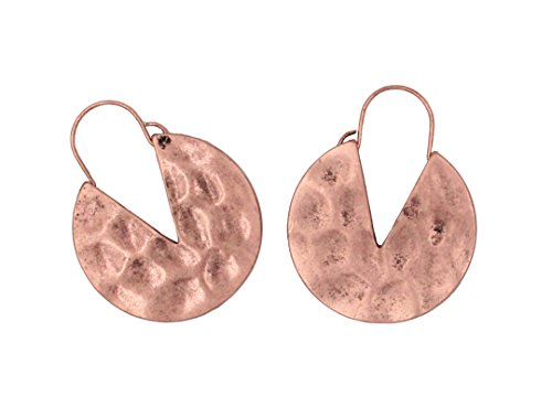 Cocoa cookie-shaped RetroAlloy Hoop Earrings by HIYOU-Home (Kc red copper Cocoa ()