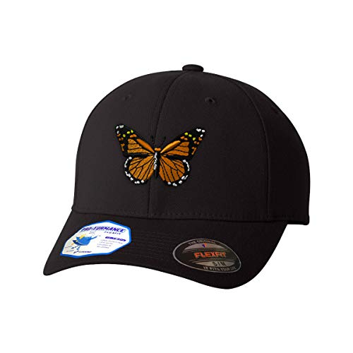 Flexfit Baseball Cap Monarch Butterfly Embroidery Animal Name Polyester Hat Elastic - Black, Large/X Large Design Only ()