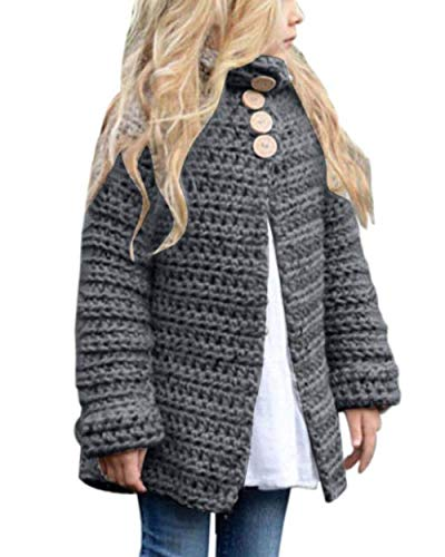 Toddler Baby Girls Autumn Winter Clothes Button Knitted Sweater Cardigan Cloak Warm Thick Coat (2T(1-2 Years), Z Grey) ()