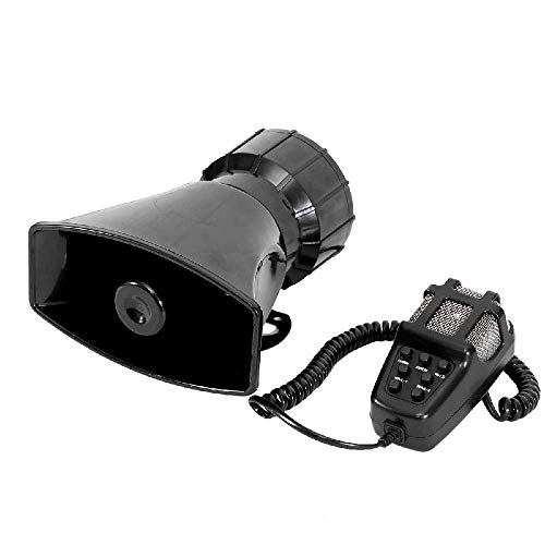 IRONWALLS 100W 12V 7 Tone Sound Car Siren Horn with PA Speaker Alarm Black for Car Police Fire Ambulance Truck Train