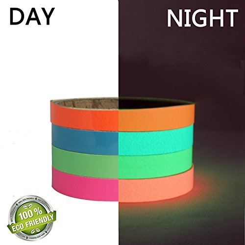 4 Rolls Luminous Tape Sticker 10 feet x 0.6 inch Removable Waterproof Photoluminescent Glow in the Dark DIY Safety Sign Tape,Use For Marking Stairs and (Photoluminescent Safety Tape)
