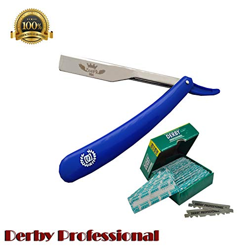 BARBER STRAIGHT RAZOR + 100 DERBY BLADES CUT THROAT Foldable Shaving Knife Beard Shaver RAPADA AFEITADO STAINLESS STEEL SALON SHAVETTE Navaja Rasurar Cuchilla Ustra (Blue Razor Holder)