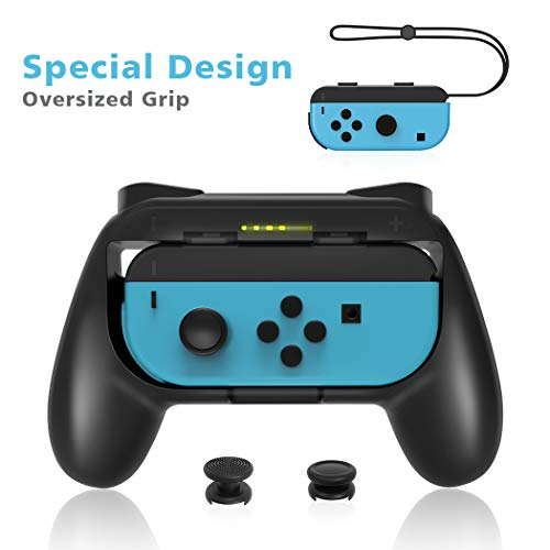 OIVO Grip of Extended Size Compatible with Nintendo Switch Joy-Con, Wear-Resistant Handle Grip Compatible with Switch Joy Cons Controller (Joy-con Super Big Grip 1x Black)