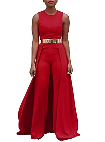 Womens Sexy Sleeveless Maxi Skirt Wide Leg Jumpsuit Without Belt Red XXL