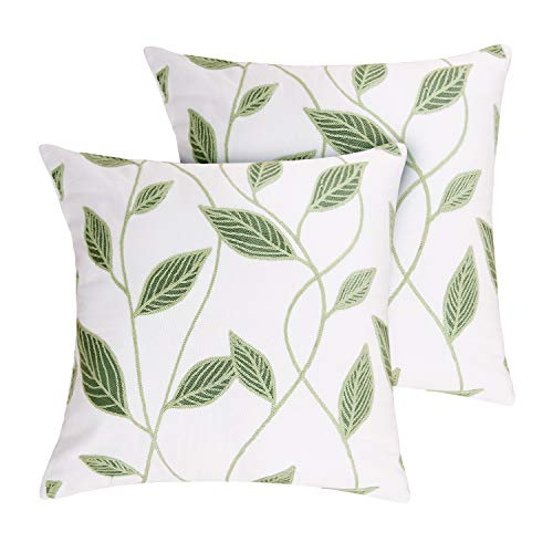 Deconovo Square Cotton Pillowcases Embroidered Cushion Covers with Leaf Pattern Pillow Covers for Spring Green 18x18 inch Set of 2 No Pillow Insert