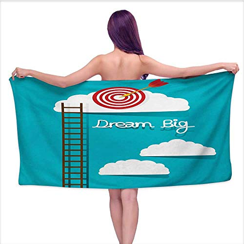 Glifporia Extra Long Bath Towel Inspirational,Dream Big Phrase with Dart Board Fluffy Clouds Staircase Optimistic Attitude,Multicolor,W31 xL63 for Toddlers