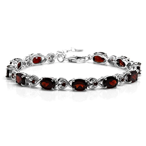 15.51ct. Natural Garnet 925 Sterling Silver Heart Victorian Style 7.25-8.75