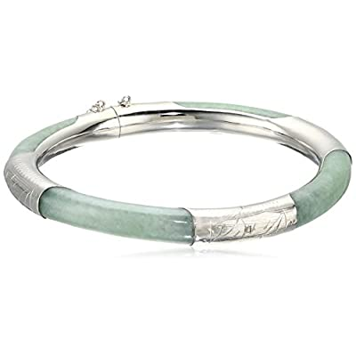 Green Jade Sterling Silver Bangle Bracelet free shipping